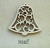 - Výrez z preglejky - Vianoce - vyrezávaný zvonček, 5,5 cm, - 9985988_