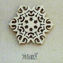 Polotovary - Výrez z preglejky - Vianoce - snehová vločka, 5,5 cm - 9985920_