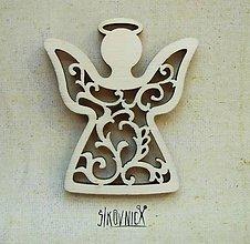 Polotovary - Výrez z preglejky - Vianoce - vyrezávaný anjel, 6,5 cm - 9985964_