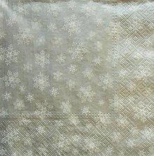 Papier - S1315 - Servítky - Vianoce - snehová vločka, strieborná - 9987121_