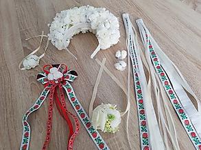 Ozdoby do vlasov - Biely folklórny svadobný set - 9986813_