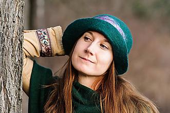Čiapky - Dámsky vlnený klobúk boho štýl zelený - 9988693_