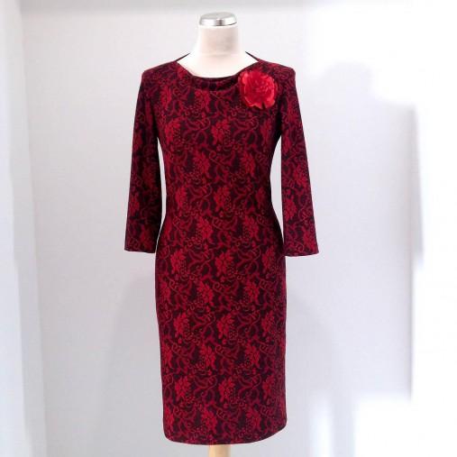 5996ce2c3e3a Šaty pre svadobnú mamu ČERVENO ČIERNE   LuxuryCouture - SAShE.sk ...