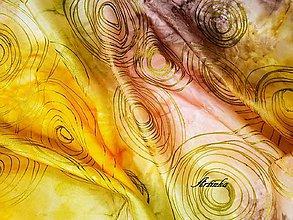 Šály - Šál hodvábny - jesenné kruhy - 9985323_