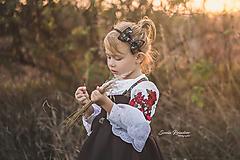 Ozdoby do vlasov - Detská folk čelenka - čierna mašlička - 9986967_