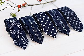 Doplnky - Modrotlačová kravata slim - 9985147_