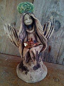 Socha - anjelik s vtáčikom - 9985218_