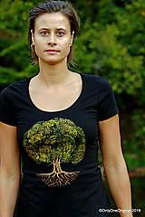 Tričká - Dámske tričko, maľované STROM ♀ - 9986007_