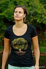 Tričká - Dámske tričko, maľované STROM ♀ - 9986009_
