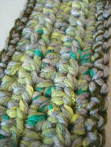 Čiapky - Háčkovaná čelenka - zelený melír - 9985372_