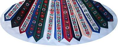 Doplnky - slim kravata folk zelená - 9986905_