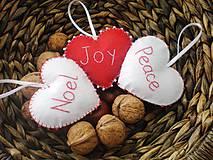 Dekorácie - Vianočné srdiečka Noel, Joy, Peace - 9985221_
