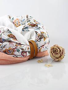 Šály - Pôvabný marhuľovo kvetinový ľanový nákrčník