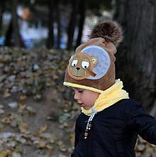 Detské čiapky - Hrejivý set s mackom - 9988577_