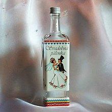 Nádoby - Darčeková fľaša k sobášu Svadobná pálenka - 9986109_