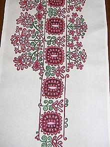 Úžitkový textil - Maľovaný stredový obrus - biely, 120 x 40 cm - 8609127_