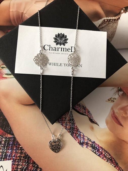 Strieborný náhrdelník Triple Charm / Triple Charm Necklace