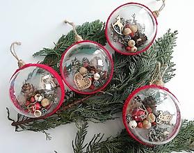 Dekorácie - Vianočné gule 4 ks sada červená klasika - 9986453_