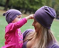 Čiapky - Merino/hodváb dospelácka čiapka - fialová (2-vrstvová) - 9988999_