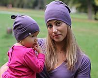 Čiapky - Merino/hodváb dospelácka čiapka - fialová (2-vrstvová) - 9989000_