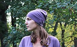 Čiapky - Merino/hodváb dospelácka čiapka - fialová (2-vrstvová) - 9989002_