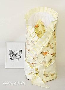 Textil - zavinovačka pre bábätko s mašľou (zavinovačka jednorožec-smotanová) - 9986325_