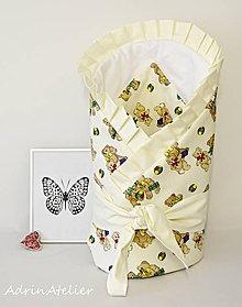 Textil - zavinovačka pre bábätko s mašľou (zavinovačka medvedíky-smotanová) - 9986326_