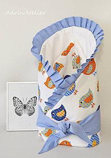 Textil - zavinovačka pre bábätko s mašľou (zavinovačka vtáčiky-biela) - 9986327_