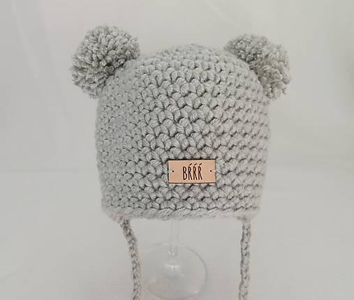 f3acd9d22 Sivá detská zimná čiapka macko s nákrčníkom / terilh - SAShE.sk ...