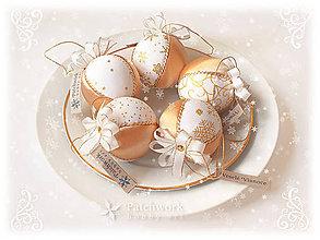 Dekorácie - Vianočné gule patchworkové - Zlatá sada - 9986190_