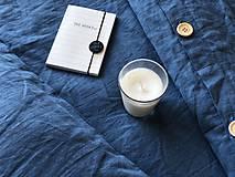 Úžitkový textil - Ľanové posteľné obliečky  (140x200 + 70x90 tmavomodrá - Modrá) - 9987257_