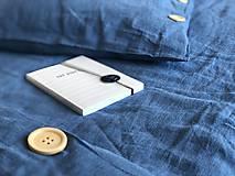 Úžitkový textil - Ľanové posteľné obliečky  (140x200 + 70x90 tmavomodrá - Modrá) - 9987259_
