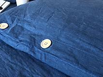 Úžitkový textil - Ľanové posteľné obliečky  (140x200 + 70x90 tmavomodrá - Modrá) - 9987260_