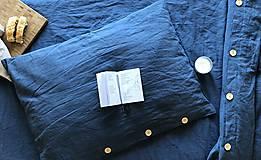Úžitkový textil - Ľanové posteľné obliečky  (140x200 + 70x90 tmavomodrá - Modrá) - 9987262_