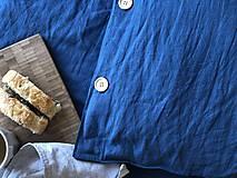 Úžitkový textil - Ľanové posteľné obliečky  (140x200 + 70x90 tmavomodrá - Modrá) - 9987266_
