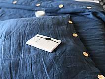 Úžitkový textil - Ľanové posteľné obliečky  (140x200 + 70x90 tmavomodrá - Modrá) - 9987268_