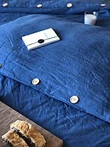 Úžitkový textil - Ľanové posteľné obliečky  (140x200 + 70x90 tmavomodrá - Modrá) - 9987270_
