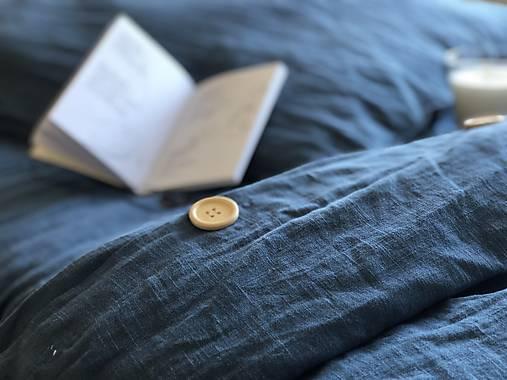 Ľanové posteľné obliečky  (140x200 + 70x90 tmavomodrá - Modrá)