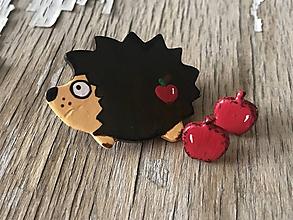 Odznaky/Brošne - maľovaný ježko - 9988104_