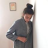 Kabáty - boyfriend coat .vlna šedý melír - 9992182_