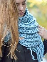 Šatky - Do tuhej zimy: tyrkysovo  modrá - 9992254_
