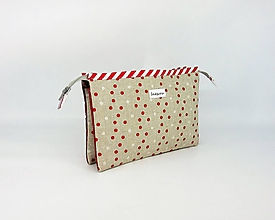 Taštičky - Kozmetická taštička pieskovo-červená - 9990302_