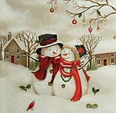 - S1320 - Servítky - Vianoce - snehuliak, domček, vtáčik - 9989592_