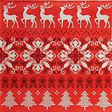 - S1323 - Servítky - Vianoce, výšivka, sob, srdiečko, strom - 9991439_
