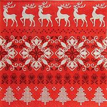 Papier - S1323 - Servítky - Vianoce, výšivka, sob, srdiečko, strom - 9991439_