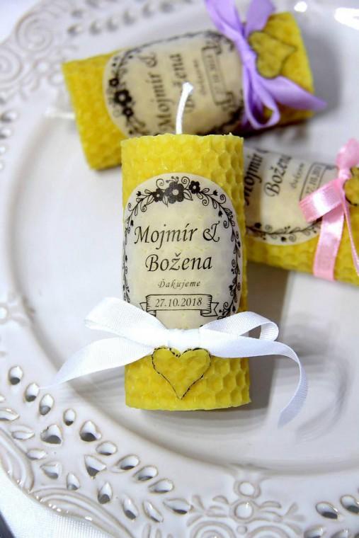 Svadobné sviečky - menovky/darčeky pre svadobčanov 1