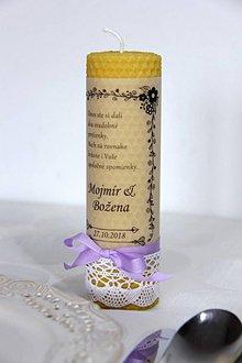 Darčeky pre svadobčanov - Svadobná sviečka z včelieho vosku pre mladomanželov 1 - 9991877_