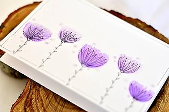 Papiernictvo - Maľovaná pohľadnica  (Fialové kvietky) - 9990932_