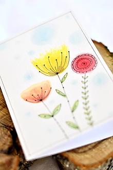 Papiernictvo - Maľovaná pohľadnica  (Žlto - červené kvietky) - 9990948_