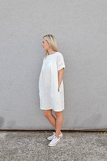 Šaty - Ľanové šaty NORA biele (S) - 9992945_